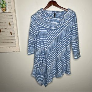 IC by Connie K Cowl Neck 3/4 Sleeve Tunic Top M